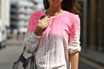On the Street…White/Pink Cardigan